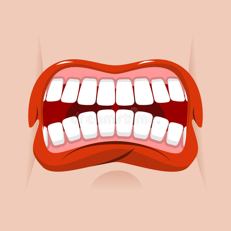 Angry mouth. aggressive emotion. Straseni grin. royalty free illustration