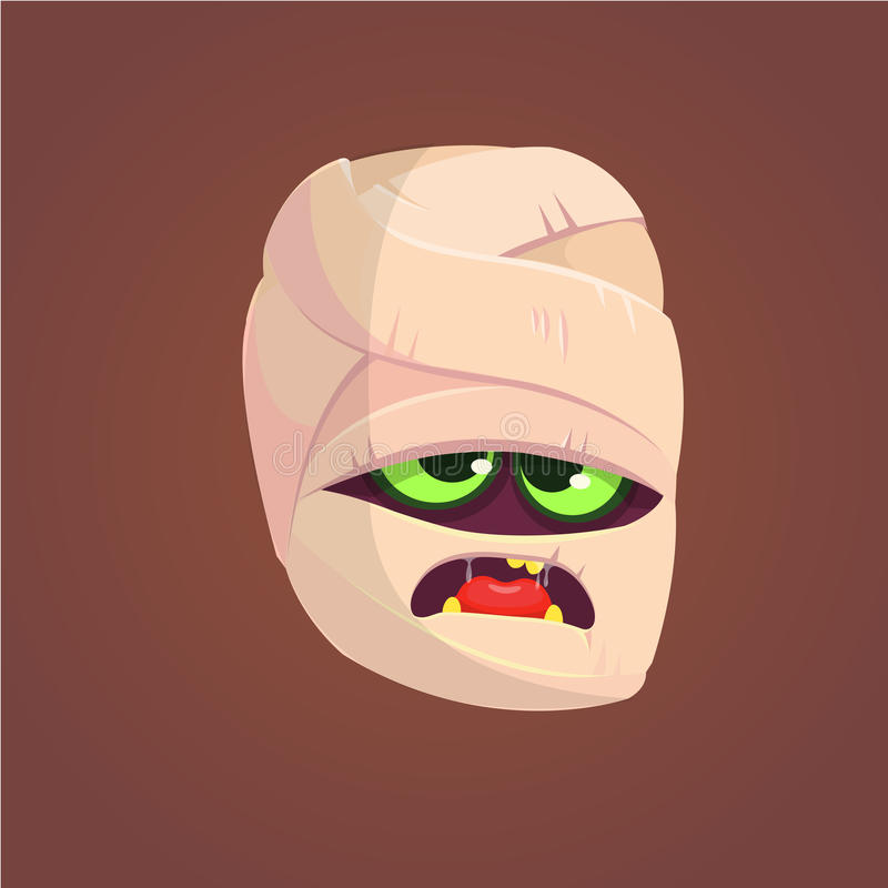 Angry Mummy Head Halloween Concept Icon. Vector illustration. royalty free illustration