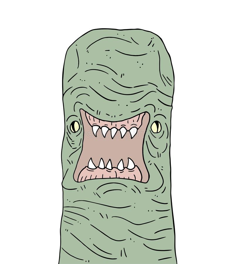 Angry mutant worm. Creative design of angry mutant worm royalty free illustration