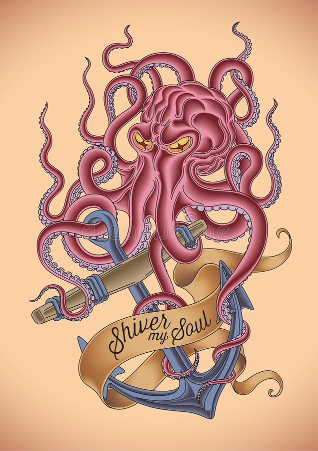 Angry octopus tattoo stock illustration