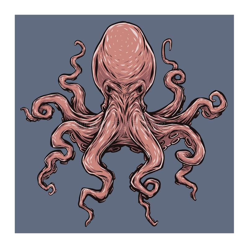 Angry octopus. Vector illustration stock image