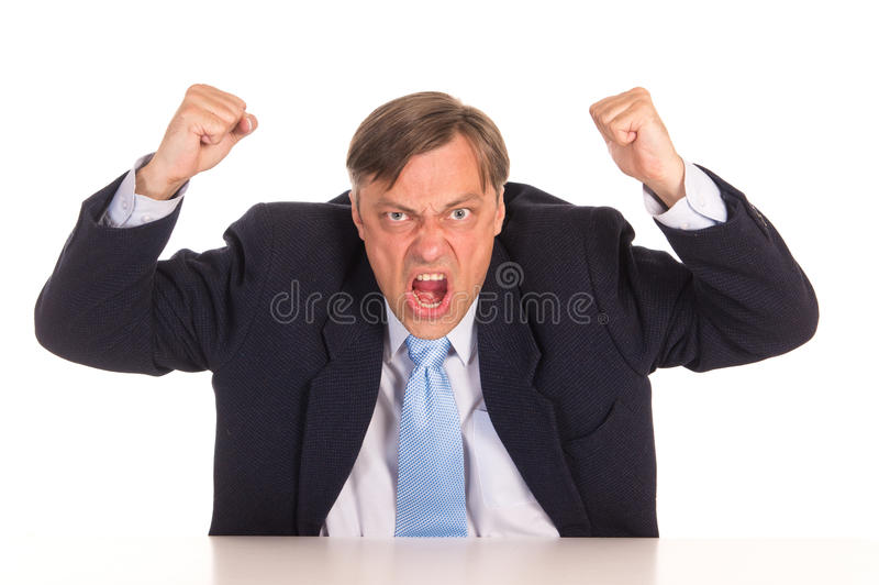 Angry office worker stock photo