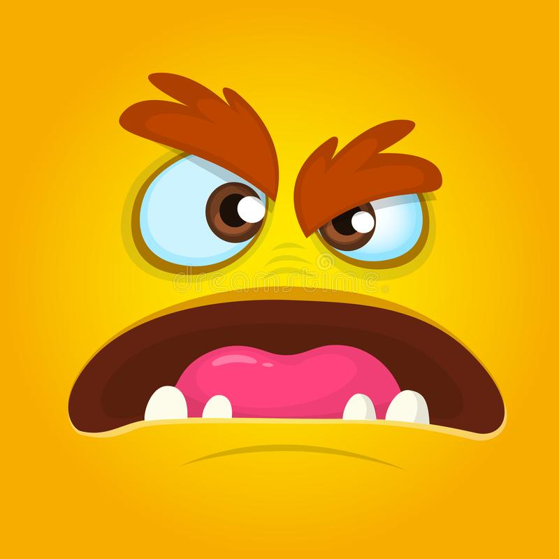 Angry Orange Monster Face. Vector illustration. Halloween cartoon monster. Angry Orange Monster Face. Vector illustration. Halloween cartoon monster vector illustration