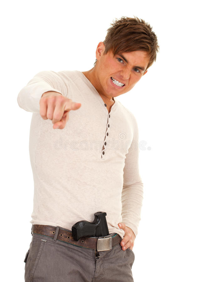 Download Angry oung man with gun stock photo. Image of kill, black - 16573900