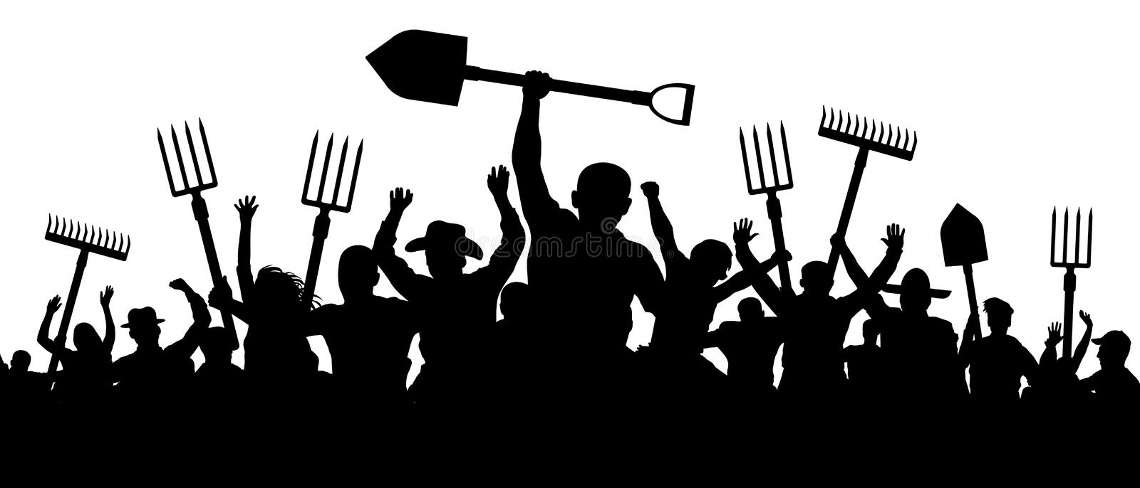 Angry peasants protest demonstration. A crowd of people with a pitchfork shovel rake. Riot workers vector silhouette royalty free illustration