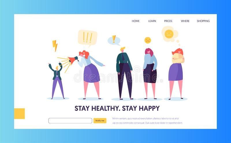 Angry People Character Making Scandal Concept Landing Page. Sad Man and Woman in Business Suit Screaming Megaphone. Aggressive Behavior Website or Web Page vector illustration