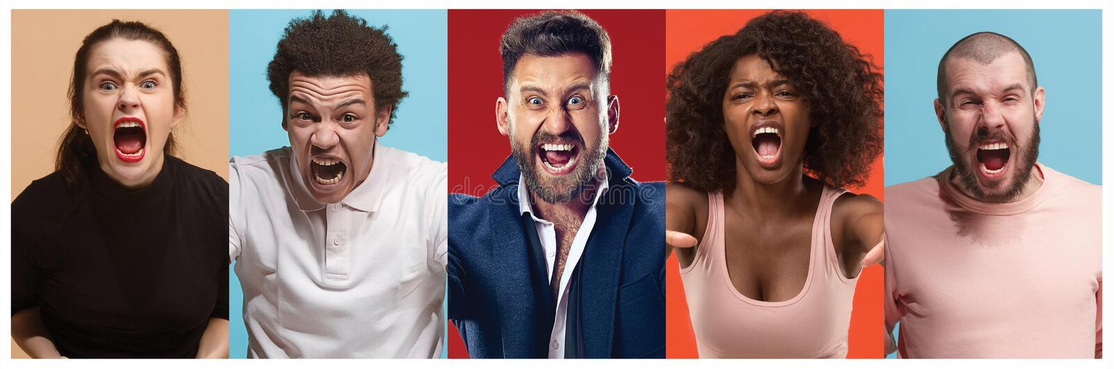 Angry people screaming. The collage of different human facial expressions, emotions and feelings of young men and women. The men and women in profile isolated stock photo