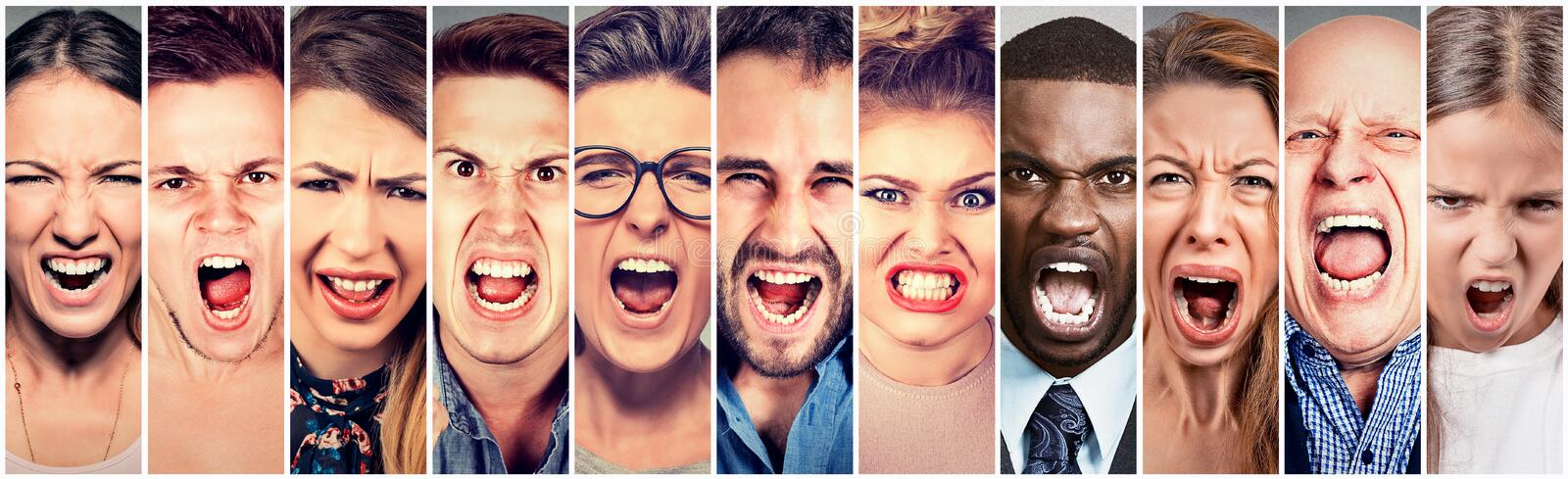 Angry people screaming. Group of men women frustrated shouting royalty free stock images