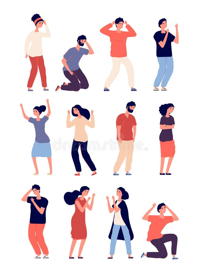 Angry people set. Depressed man and woman in conflict, disagreement. Criticize conversation, disregard postures. Vector. Characters. Illustration of stress and vector illustration