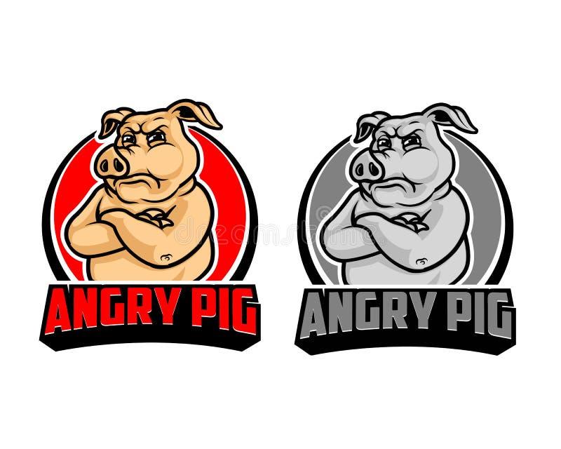 Angry Pig Cartoon Logo royalty free illustration