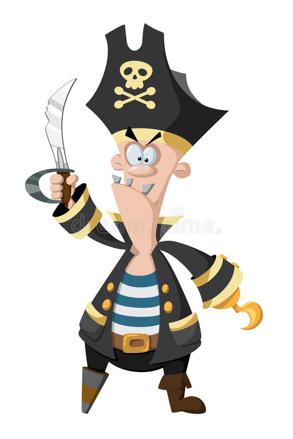Angry pirate stock illustration