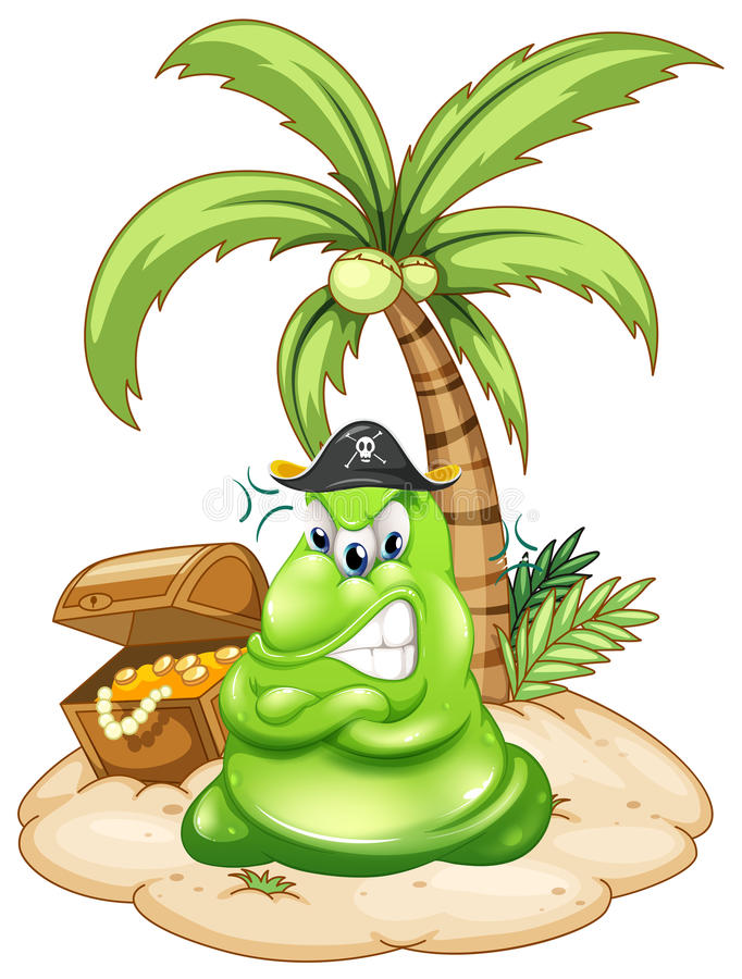 Free Angry Pirate Monster In Island With Treasure Royalty Free Stock Image - 39116886