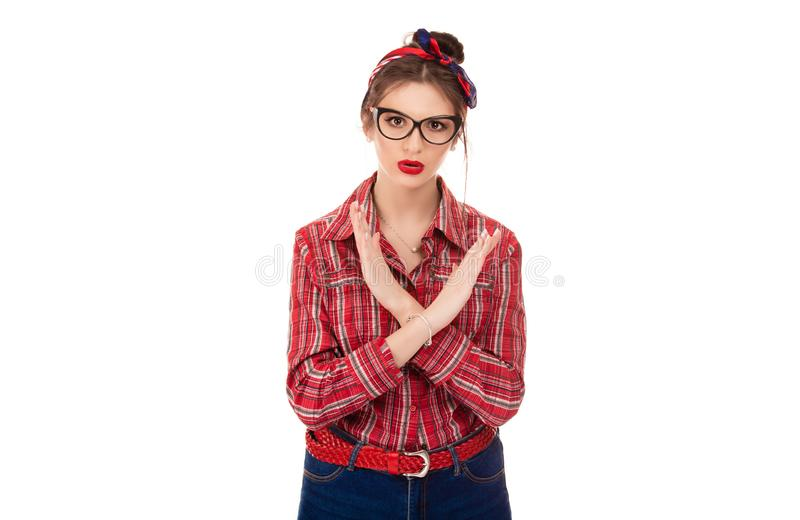 Angry pissed of woman showing stop, no, hands gesture royalty free stock photo