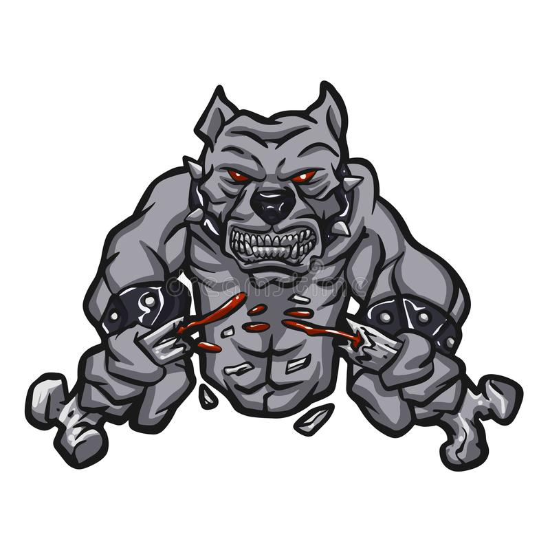 Angry pitbull breaking bone. Vector illustration royalty free illustration
