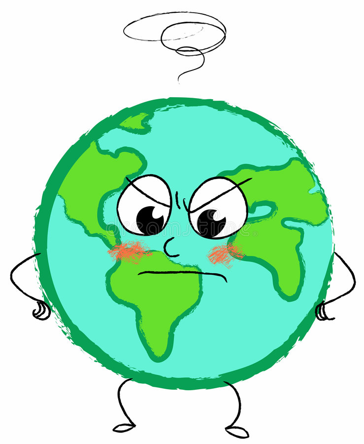 Angry planet earth stock illustration