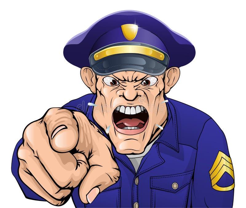 Angry policeman stock illustration