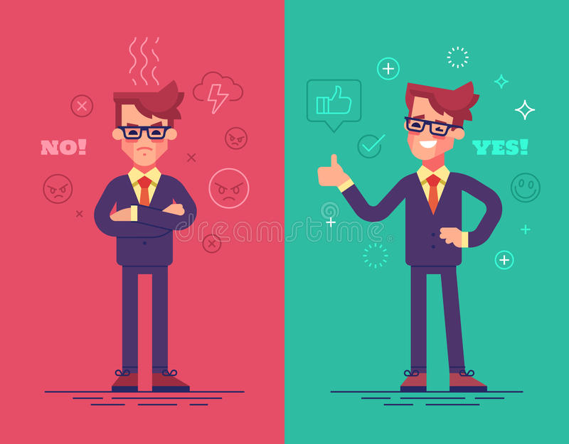 Angry and positive businessmen. Funny characters with mood icons on background. Angry and positive businessmen. Funny characters with mood icons on background royalty free illustration