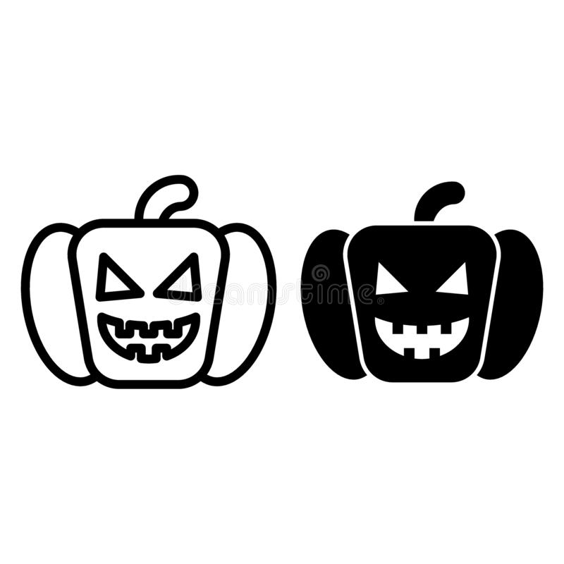 Angry pumkin line and glyph icon. Halloween face vector illustration isolated on white. Gourd outline style design royalty free illustration