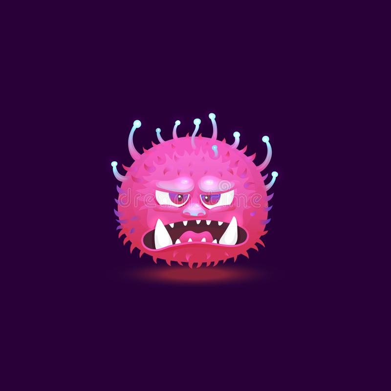 Angry purple pink monster with big teeth and glowing hairy skin floating with angry annoyed face. royalty free illustration
