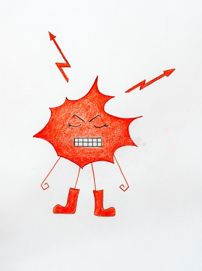 Angry red blob with lightning bolts and gritting teeth stock photo