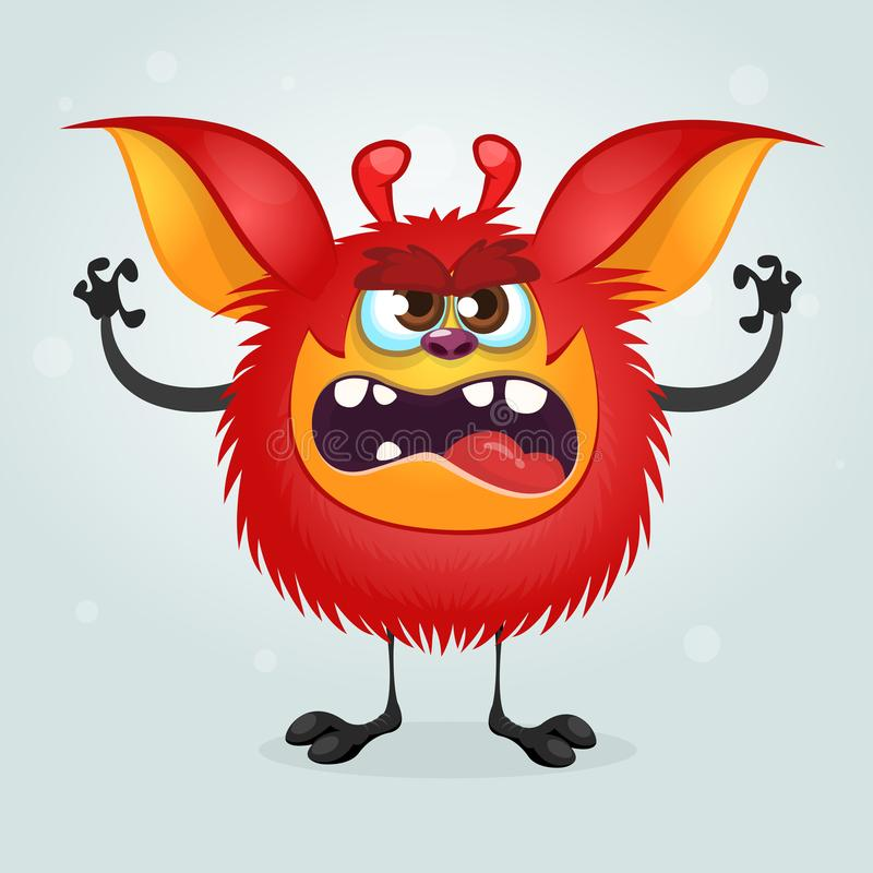 Angry red cartoon monster waving hands. Halloween vector illustration. Angry red cartoon monster waving hands. Halloween vector illustration stock illustration