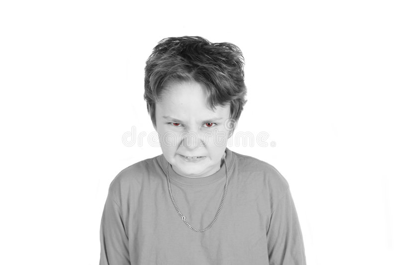 Angry red-eyed boy royalty free stock photos