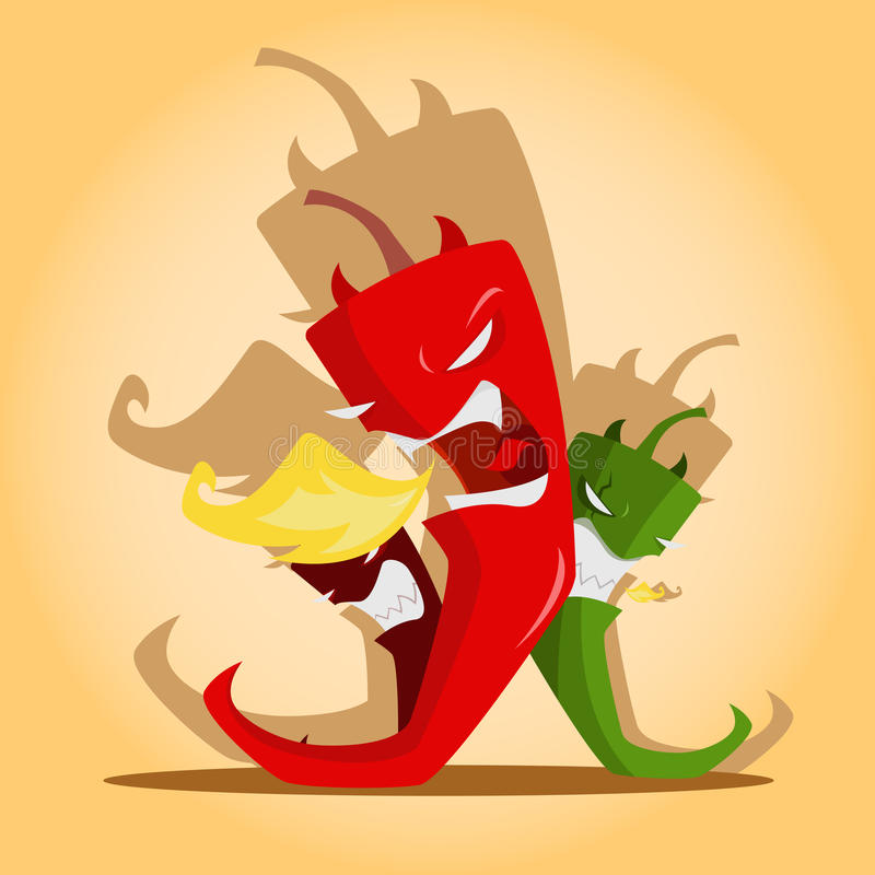 Angry red and green chili peppers vector illustration