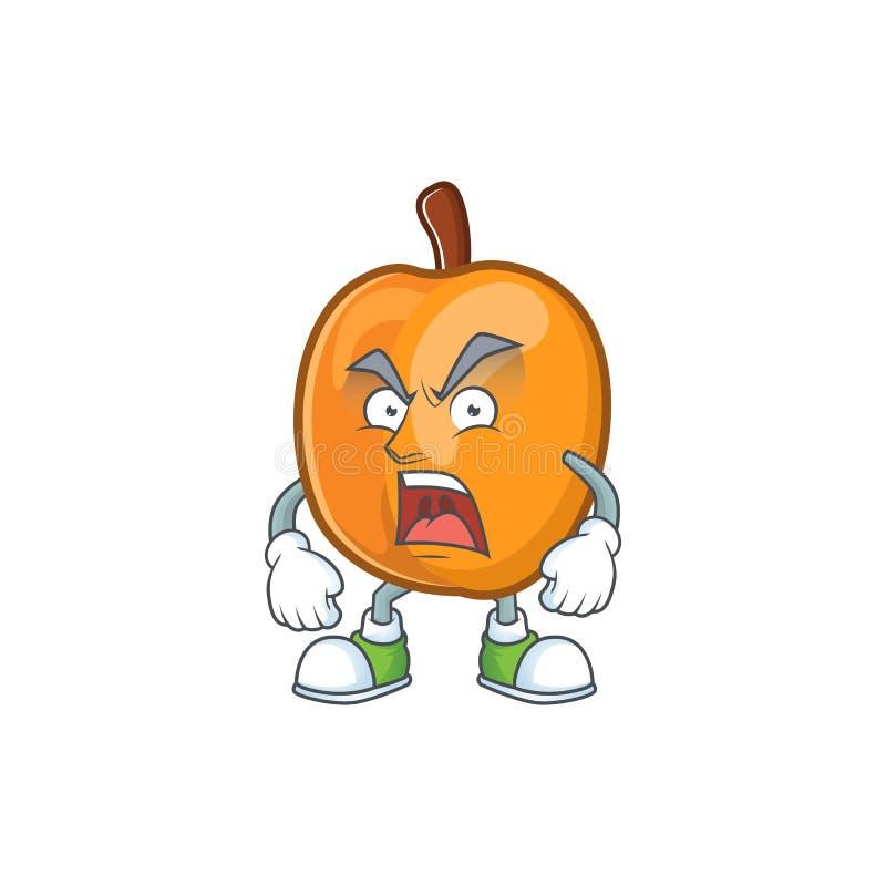 Angry ripe apricot character mascot of cartoon. Vector illustration royalty free illustration