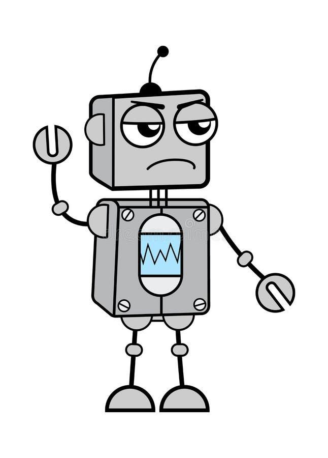 Robot en colère de dessin animé avec une illustration levée par la main