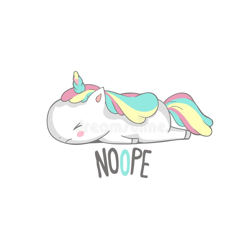 Angry Sad Unicorn Lies Say Nope Poster Design. Little Cute Tired Horn Horse Sleep. Lazy Funny Character Relax on White. Can be used for t-shirt print, kids royalty free illustration