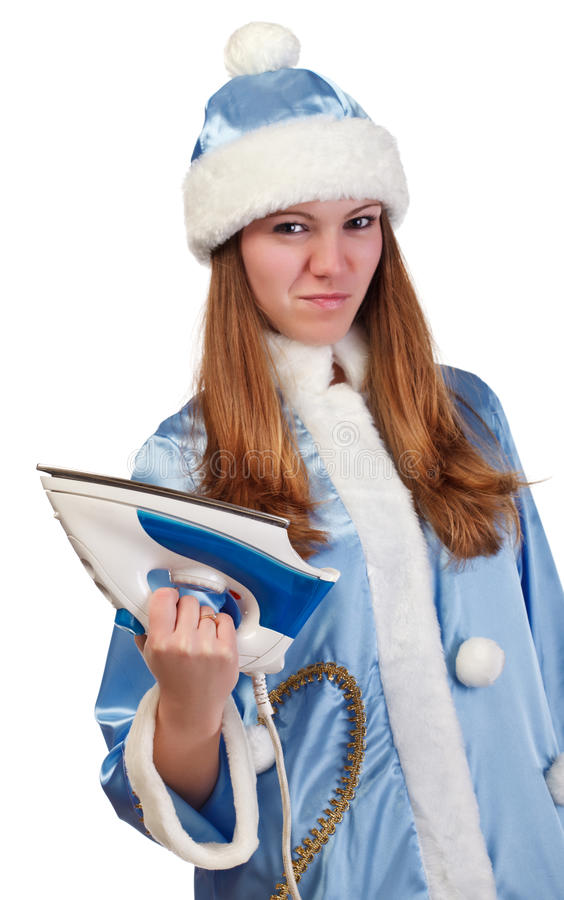 Angry Santa Girl With Iron Royalty Free Stock Images