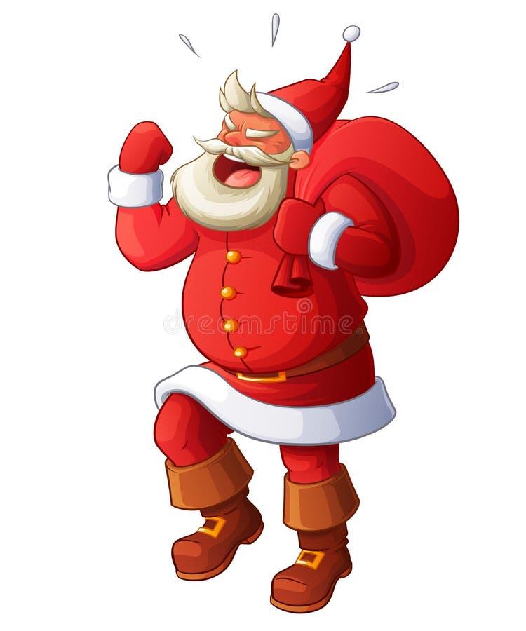 Angry Santa yelling and waving his fist. Cartoon vector illustration. Santa Claus being angry, yelling, stomping and waving his fist. Cartoon style vector vector illustration