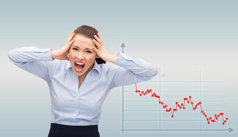 Angry screaming businesswoman royalty free stock images