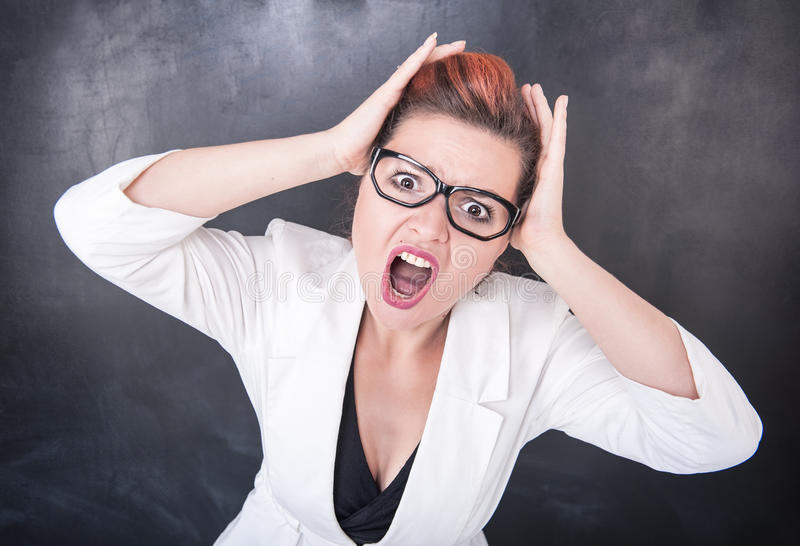 Angry screaming woman royalty free stock image