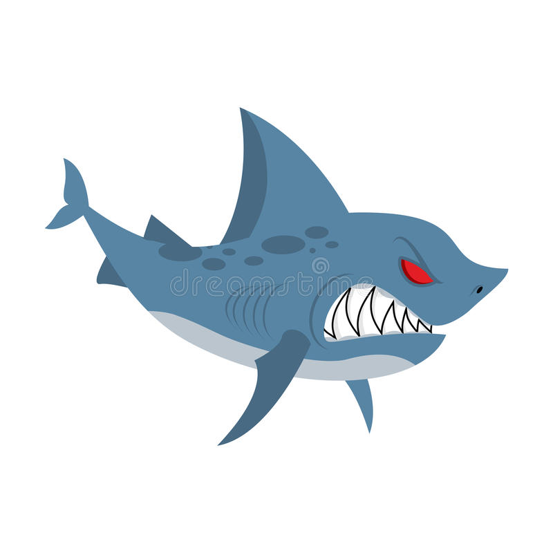 Angry shark. Marine predator with large teeth. Deep-water denize stock illustration