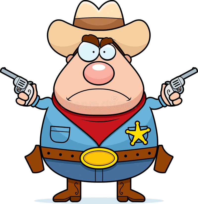 Angry Sheriff. A cartoon sheriff looking angry with guns drawn stock illustration
