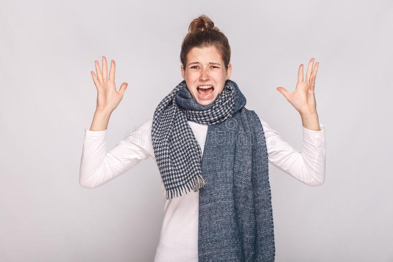 Angry sick woman roar at camera and have unwell look royalty free stock images