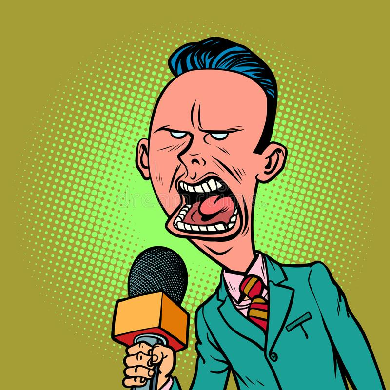 Angry skeptical reporter correspondent journalist male royalty free illustration