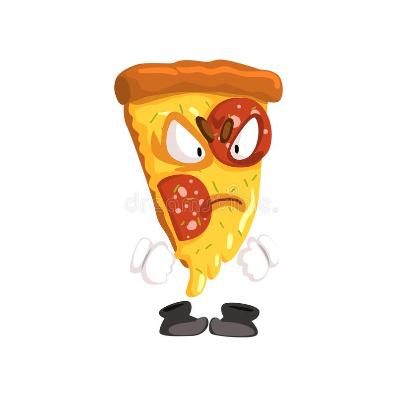 Angry slice of pizza, funny cartoon fast food character vector Illustration on a white background. Angry slice of pizza, funny cartoon fast food character vector stock illustration