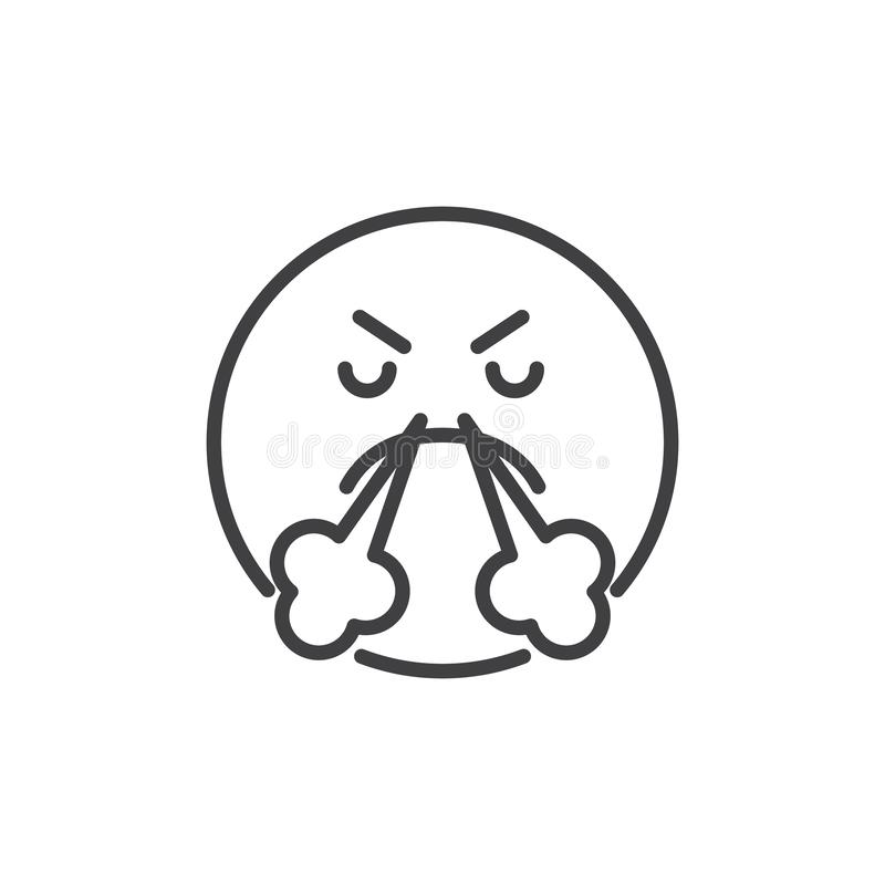 Angry Smile of Emoticon with Steam from Nose outline icon royalty free illustration