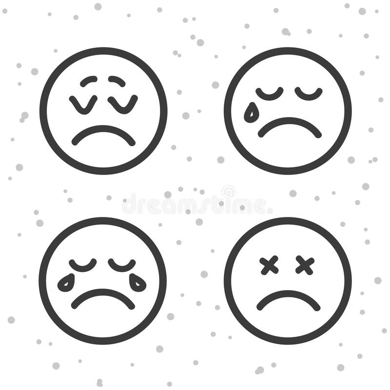 Angry Smiley icons. Crying and unhappy emoticons symbols. stock illustration