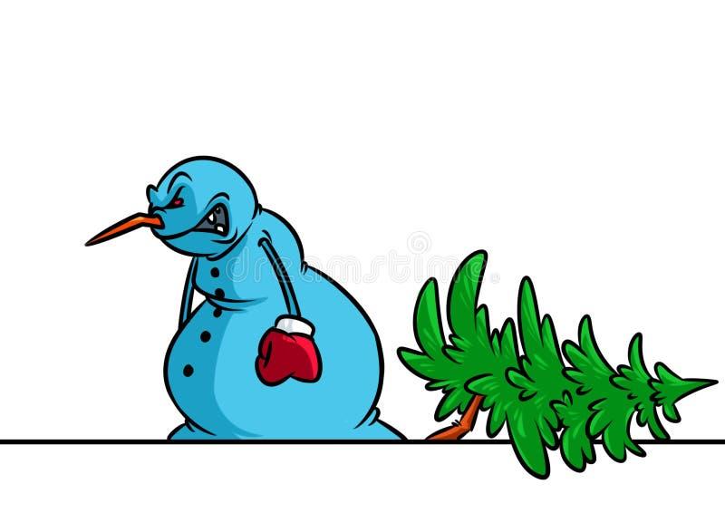 Angry Snowman felled tree christmas breakdown cartoon illustration vector illustration