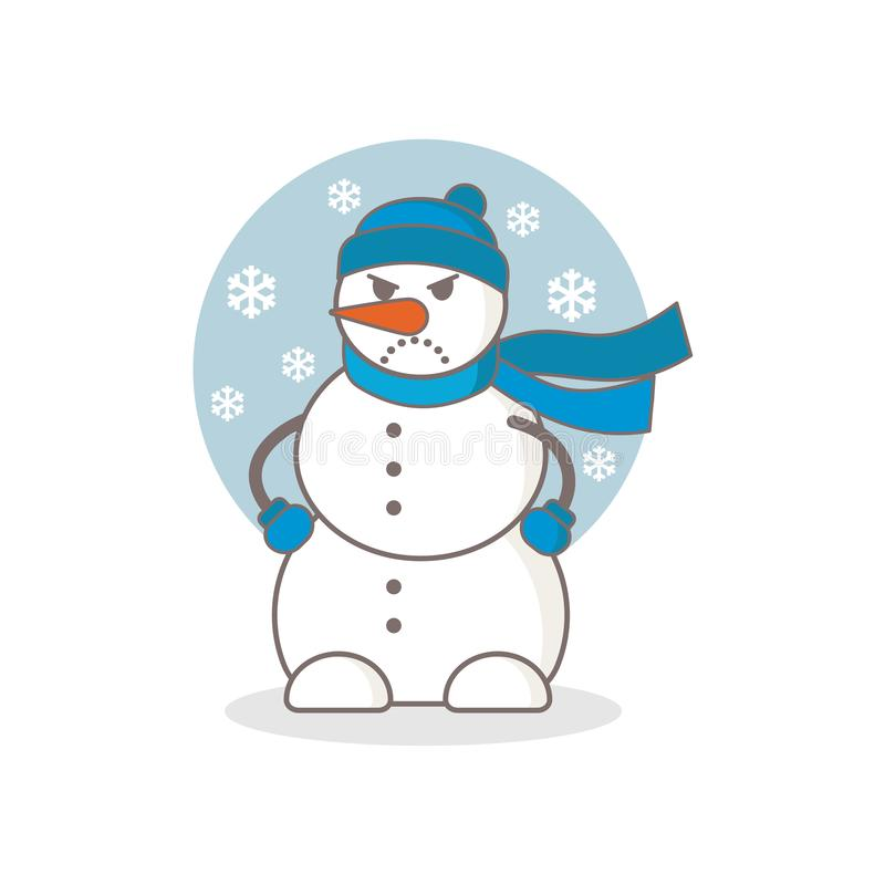 Angry snowman vector illustration royalty free illustration