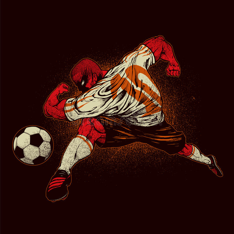 Angry soccer player royalty free illustration
