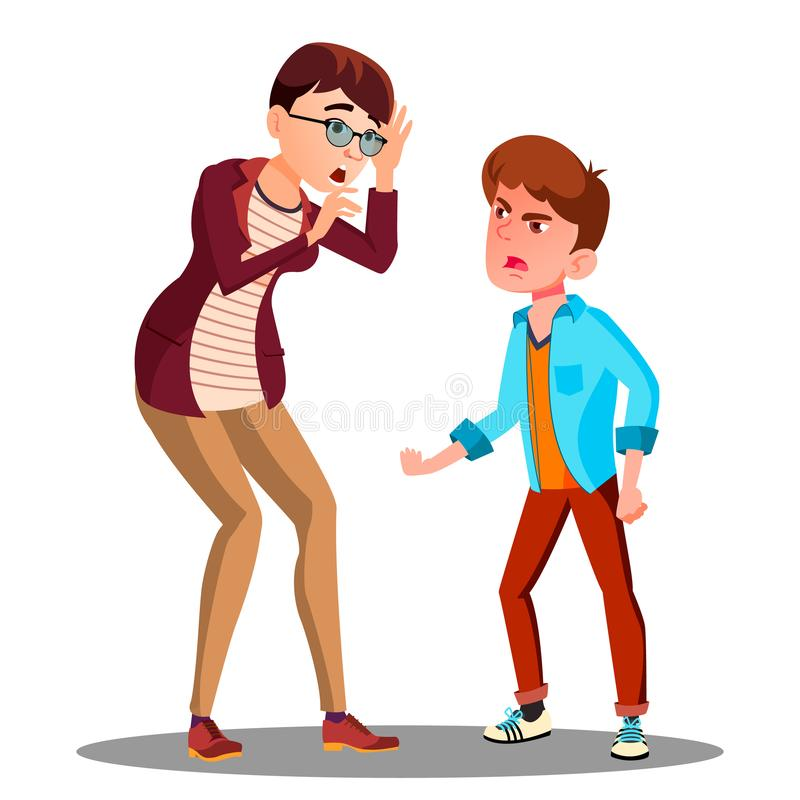 Free Angry Son Screaming At Frightened Mother Vector. Isolated Illustration Royalty Free Stock Photography - 127973367
