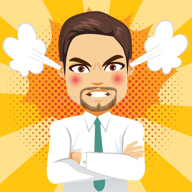 Angry Steam Businessman. Angry face expression steam businessman with comic background stock illustration