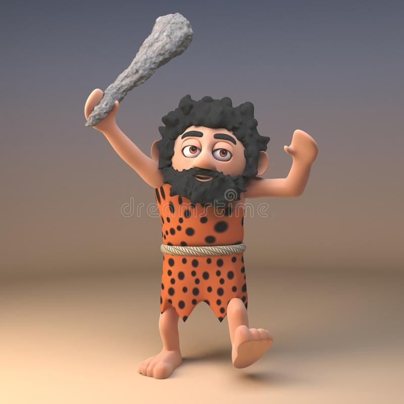 Angry stone age caveman in animal pelt with long beard waves his prehistoric club in the air while ranting, 3d illustration. Render royalty free illustration