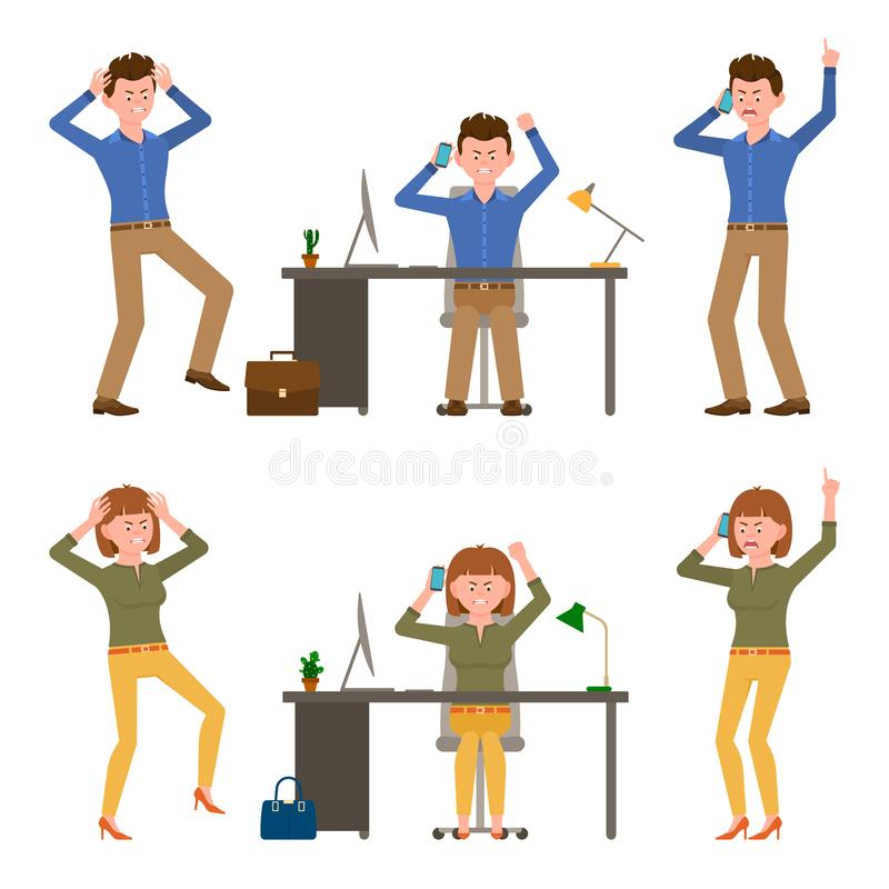 Angry, stressed, desperate, mad office man and woman vector illustration. Shouting, pointing finger, talking on phone boy and girl. Cartoon character set on stock illustration