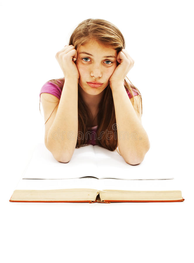 Download Angry Student Girl With Learning Difficulties Stock Image - Image of headache, elbow: 23172503