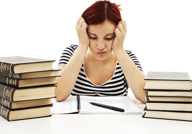 Angry student girl with learning difficulties royalty free stock photography